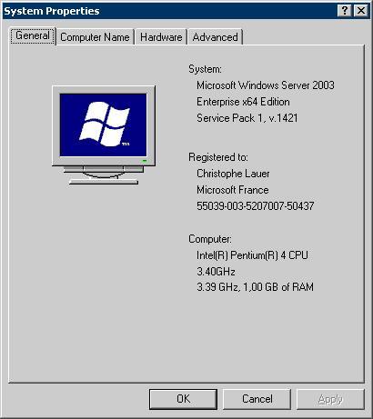 Windows Server 2003 SP1 x64 Beta sur processeur Pentium4 EM64T